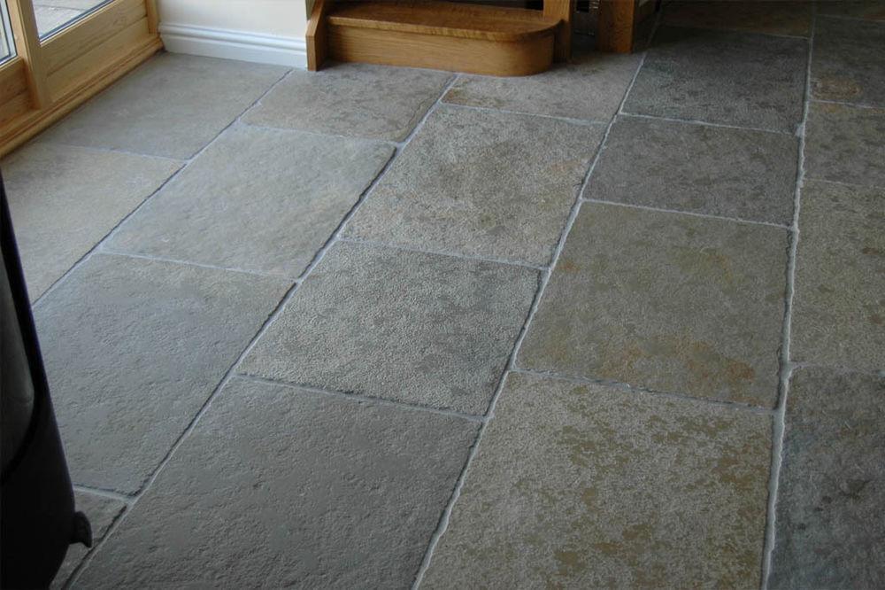 Grey limestone floor tiles